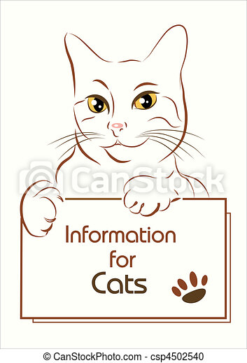 adorable outline cat holding banner - csp4502540