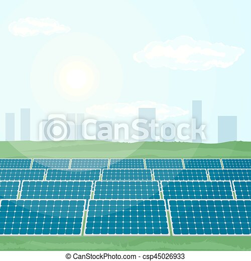 Many solar panels produce renewable energy from sun. - csp45026933