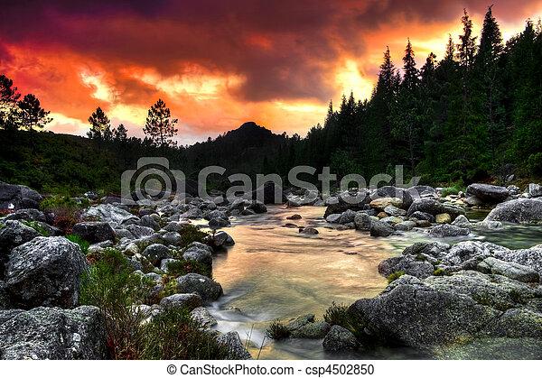 fjäll, flod - csp4502850