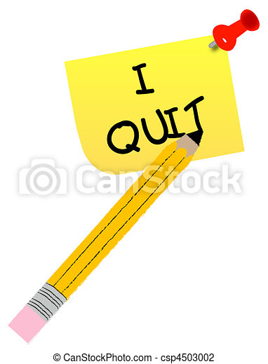 thumb tacked note with message - I quit - csp4503002