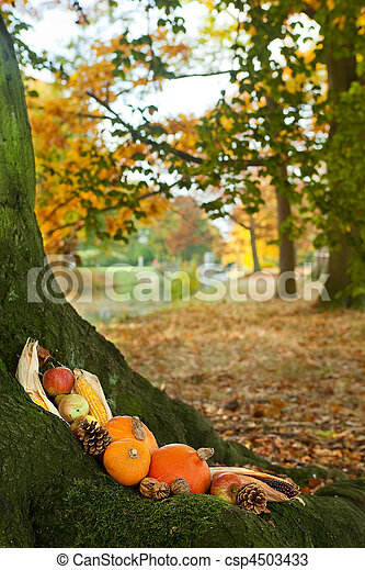 Halloween pumpkins on a tree trunk - csp4503433
