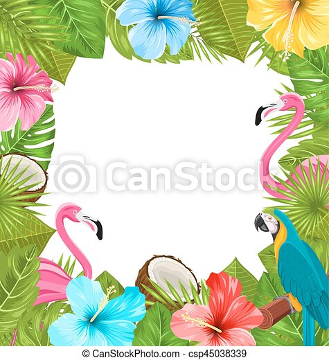 Tropical Frame Made in Beautiful Plants - csp45038339