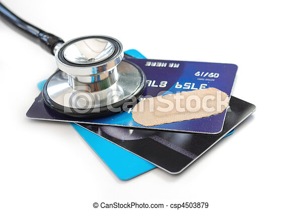 Credit card and stethoscope - csp4503879