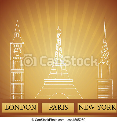 monuments of london new york and paris - csp4505260