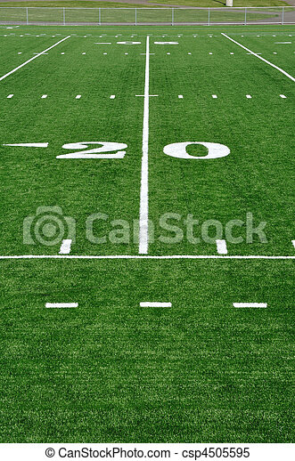 Twenty Yard Line on American Football Field - csp4505595