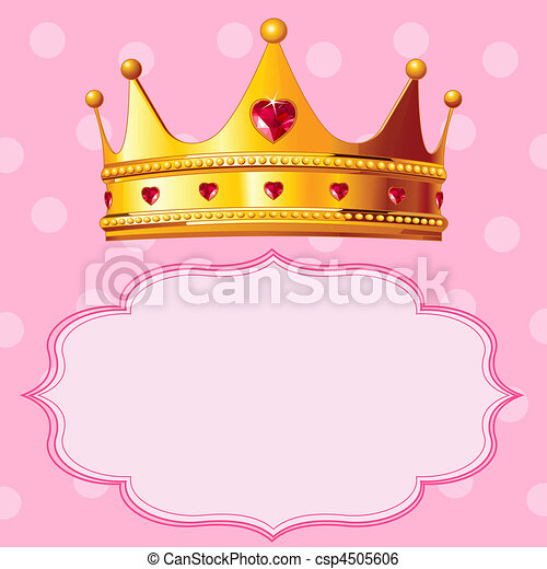 Princess Crown on pink background - csp4505606