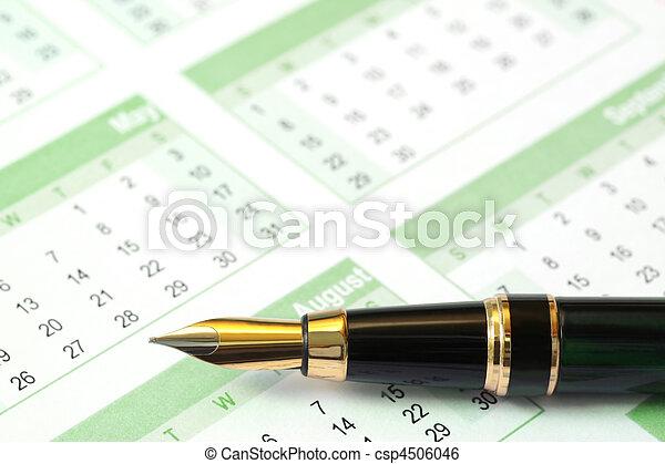 Fountain Pen on Calendar - csp4506046
