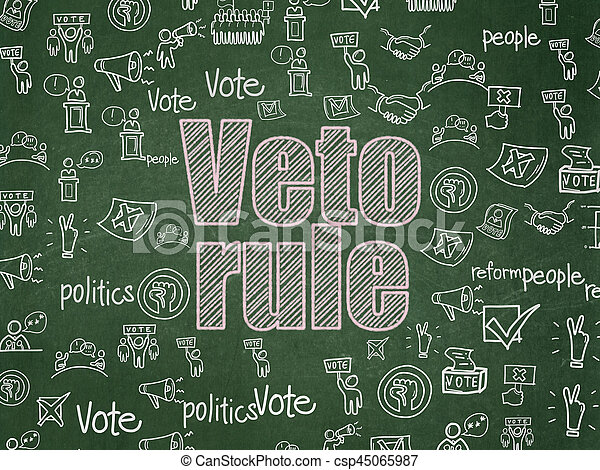 Politics concept: Chalk Pink text Veto Rule on School board background with Hand Drawn Politics Icons, School Board
