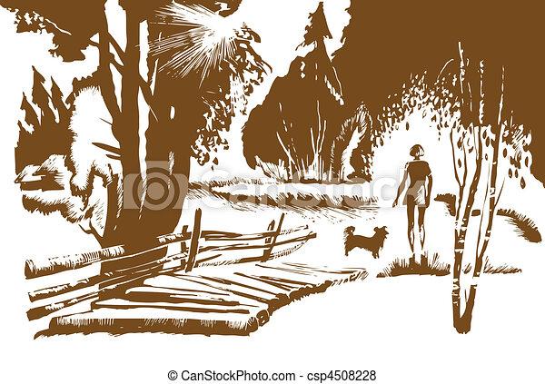 vector illustration of the girl with dog near bridge - csp4508228