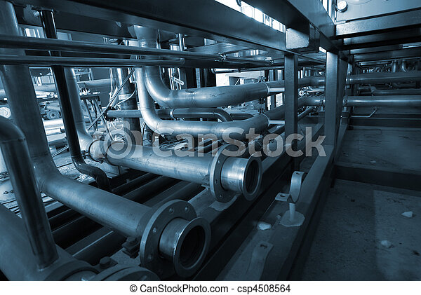 Installation of industrial pipelines in blue tones - csp4508564