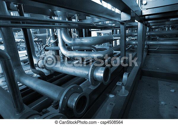 Installation of industrial pipelines in blue tones     - csp4508564