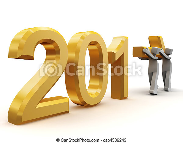 Teamwork celebrating new year 2011 - csp4509243