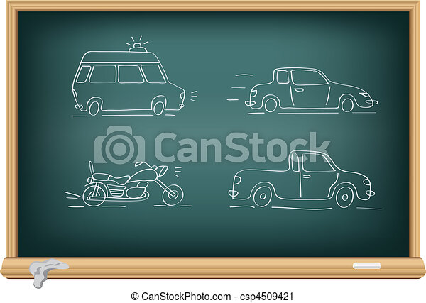Drawing cars by a chalk - csp4509421
