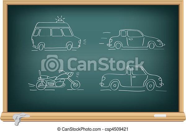 desenho, carros, Giz - csp4509421