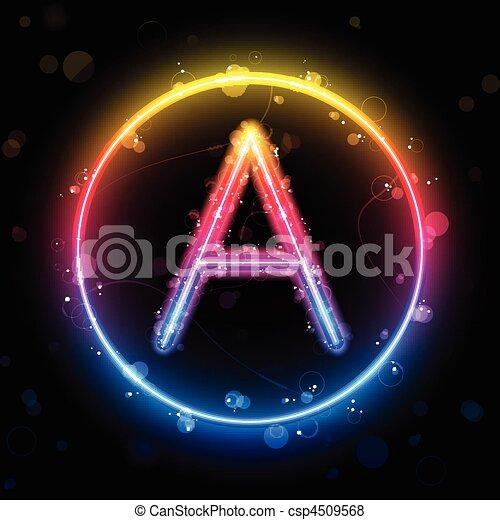 Alphabet Rainbow Lights in Circle Button - csp4509568