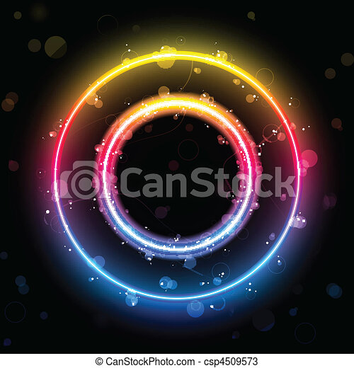 Alphabet Rainbow Lights in Circle Button - csp4509573