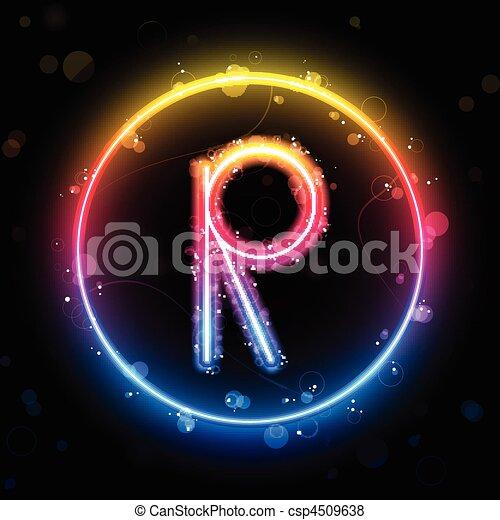 Alphabet Rainbow Lights in Circle Button - csp4509638
