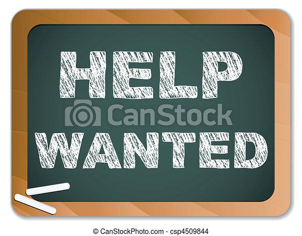 Help Wanted written on Chalk Blackboard - csp4509844