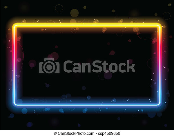 Rainbow Rectangle Border with Sparkles and Swirls. - csp4509850
