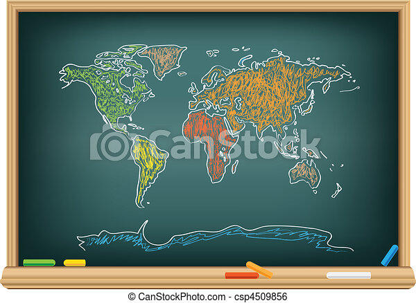 Drawing world map by a chalk - csp4509856