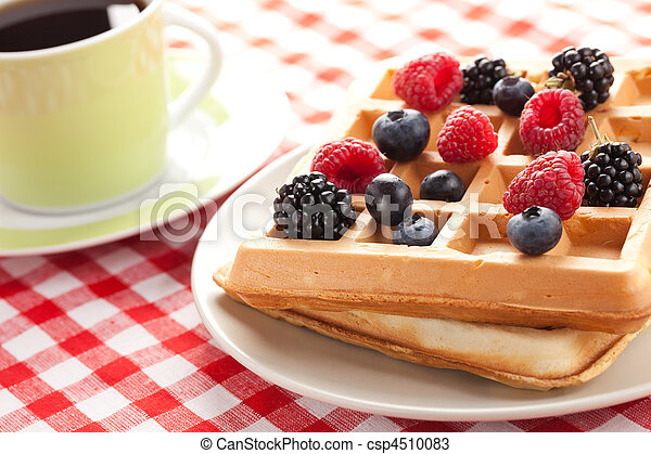tasty waffle with fruits - csp4510083