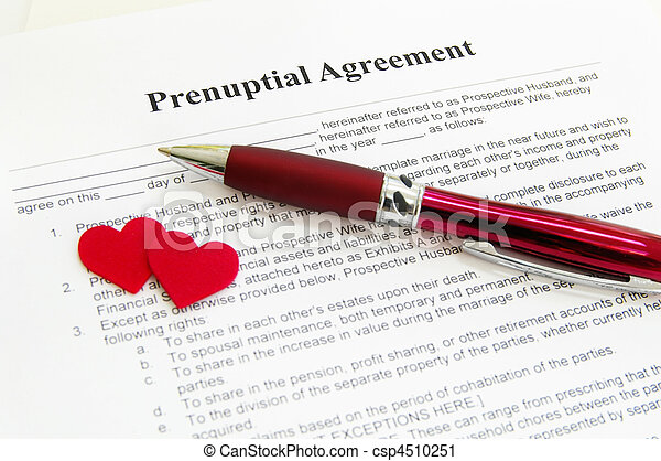 prenuptial agreement with two red hearts - csp4510251