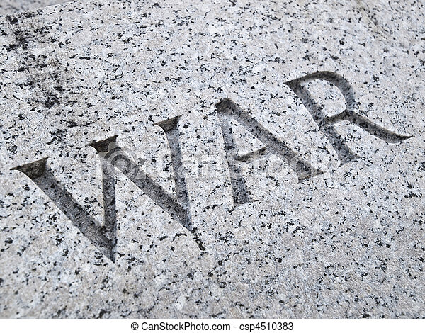 War Lettering Carving - csp4510383