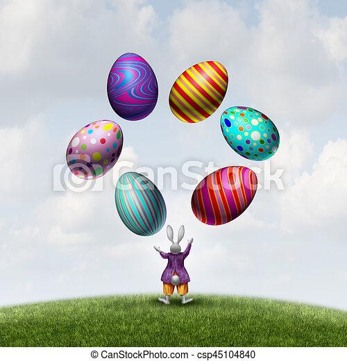 Rabbit Juggling Easter Eggs - csp45104840