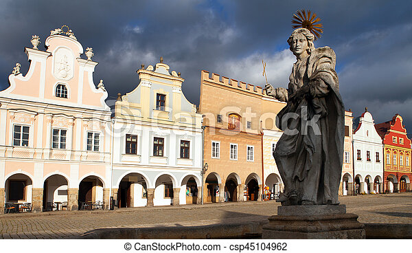 statue of st. Margaret on Telc or Teltsch town square - csp45104962