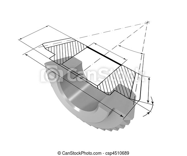 Gear in the section and drawing - csp4510689