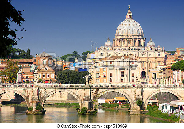 Vatican City from Ponte Umberto I in Rome, Italy - csp4510969