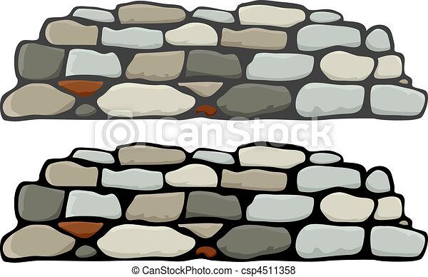 Vector de piedra, pared, yo - Un, piedra, pared, negro, gris, mortero ...