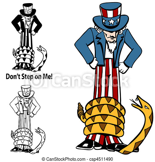 Tea Party Rattlesnake Uncle Sam - csp4511490
