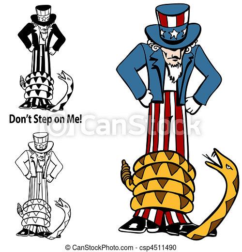 Tea Party Rattlesnake Uncle Sam - csp4511490
