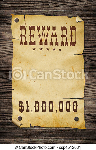 Old western reward sign. - csp4512681