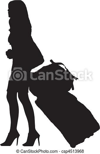 girl with luggage - csp4513968