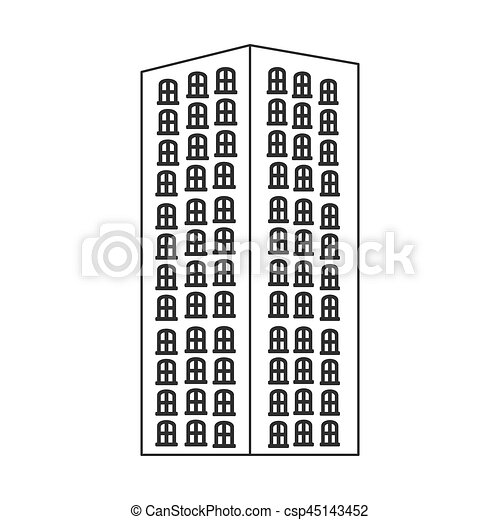 Apartment Building Graphic clipart vector of monochrome contour with apartment building