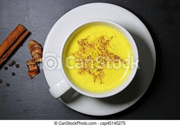 Golden milk or Turmeric Latte - csp45145275