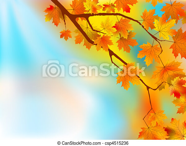 Autumn leaves background in a sunny - csp4515236