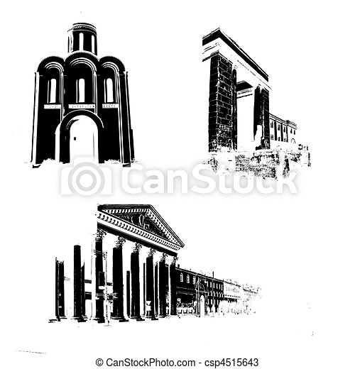 silhouette of the old-time buildings on white background - csp4515643