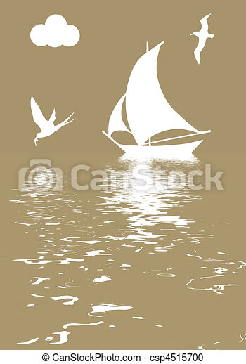 vector illustration sailboat in ocean - csp4515700