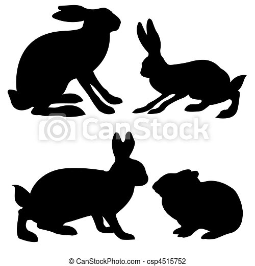 Hare Line Drawings Vector Silhouettes Hare And