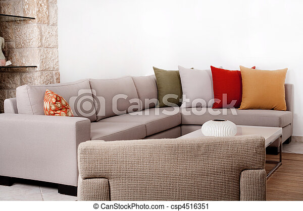Modern couch withe coloured pillow - csp4516351