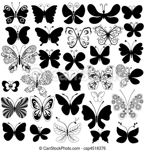 Big collection black butterflies - csp4516376