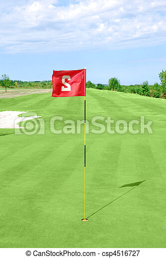 golf course with red flag