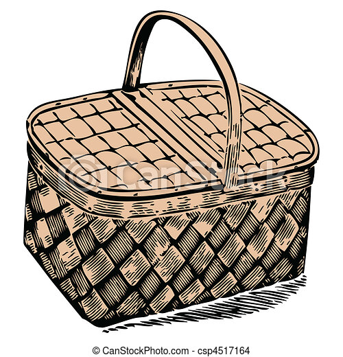 Picnic Basket Drawing Picnic Basket Against White