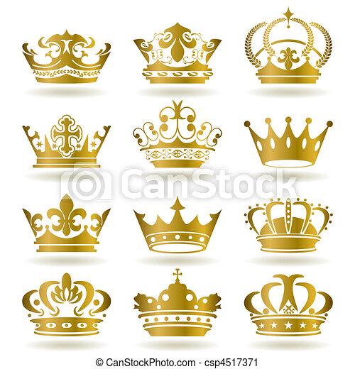Gold crown icons set - csp4517371