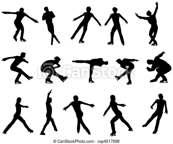 Mans figure skating silhouette set - csp4517698