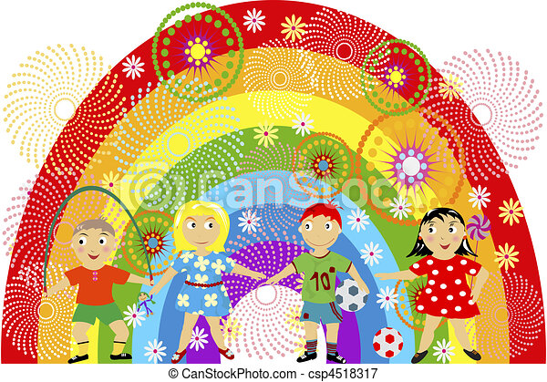 Rainbow with children - csp4518317
