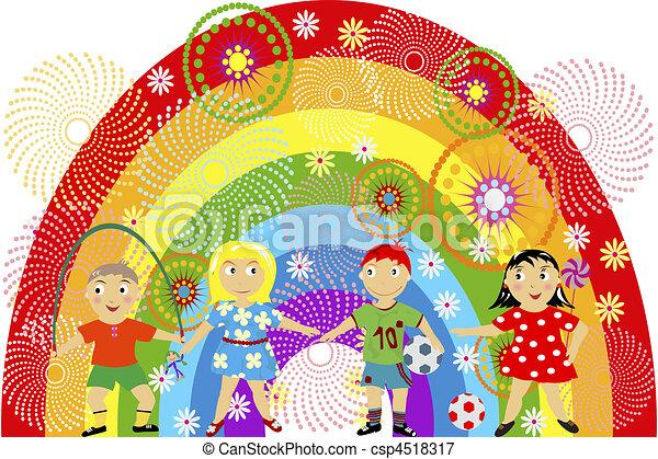 Rainbow with children - csp4518317